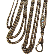 Victorian Ladies Opal Seed Pearl Slide Chain Long Guard Chain Necklace