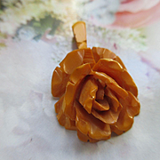 Older Vintage Tea Stained Rose Pendant
