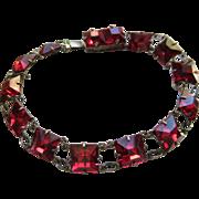 Vintage Deco Ruby Crystal Sterling Bracelet