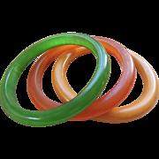 Vintage Fall Colors Bakelite Bangle Bracelets