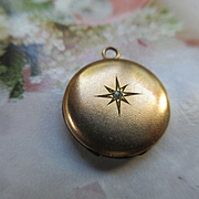 Circa 1910 Paste Locket Charm Star Burst Theme