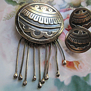 Vintage Mexican Maricella Pendant and Screw Back Earrings