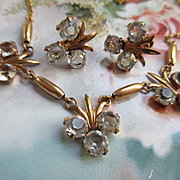 Vintage Crystal Necklace and Screw Back Earrings in 12K Gold Fill  Am Co Hallmark