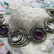 Vintage 800 Silver Amethyst Cabochon  Signed Perli German Mid Century Modernist