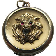 Antique Victorian Lion Locket in Gold Fill