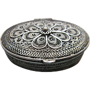 Vintage 800 Silver Trinket Box  Spun Silver Jewelry Box
