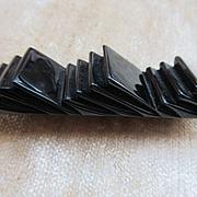Vintage Black Bakelite Geometric Pin Authentic Deco Bakelite