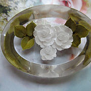 Vintage Reverse Carved Lucite Pin Mid Century