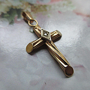 Vintage 14K Yellow Gold Diamond Cross