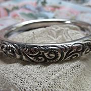 Antique Sterling Repousse Bangle Bracelet