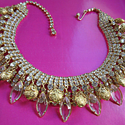 Vintage Unsigned Costume Open Back Crystal Rhinestone and Gold Toned Beaded Necklace