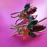 Vintage Sterling Gilt Bug Screw Back Earrings