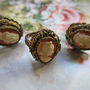 Vintage 800 Silver Gilt Cameo Ring and Screw Back Earrings