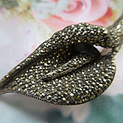 Vintage Sterling Marcasite Calla Lily Pin
