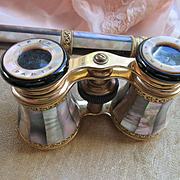 Antique French Opera Glasses Binoculars Mother of Pearl on Brass with Handle