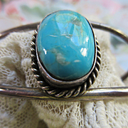Vintage Sterling Native American Turquoise Cuff Bracelet