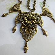 Vintage Brass Bib Necklace