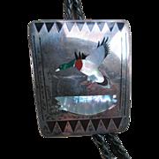 Vintage  JBH John Hawley Zuni Sterling Silver Bolo Tie Mallard Duck