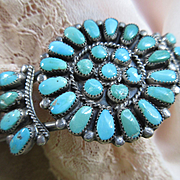 Vintage Sterling Native American Turquoise Cluster Petit Point Cuff Bracelet