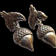 Vintage Danecraft Sterling Acorn Screw Back Earrings
