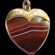 Antique 10K Banded Agate Heart Fob Pendant BLFE Brotherhood of Locomotive Firemen and Enginemen