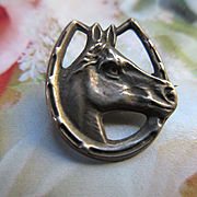 Circa 1910 Sterling Top Equestrian Horse Pin