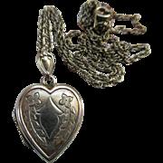 Vintage Sterling Heart Locket Necklace