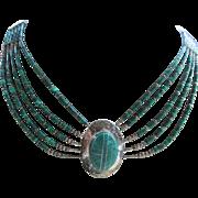 Vintage Sterling Malachite Bib Necklace