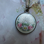 Vintage Sterling Guilloche Enameled Charm Necklace