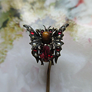 Antique Seed Pearl Tiger Eye and Paste Butterfly Stick Pin