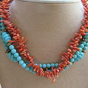 Vintage Omar Original Coral Branch and Blue Bead Necklace