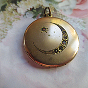 Antique Crescent Moon and Star Paste Locket in Gold Fill