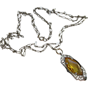 Vintage Deco 30s Citrine Glass Necklace