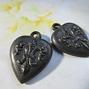 Older Vintage Sterling Fleur De Lis Charms Pair