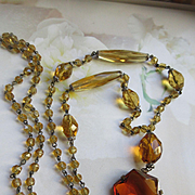 Vintage 30s Long Crystal Necklace