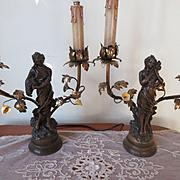 Antique Art Nouveau Lady Lamps Pair