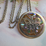 Vintage Sterling Mexican Butterfly Necklace Inlaid Abalone