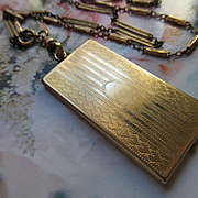 Vintage 1920s Picture Frame locket on Antique Watch Chain Necklace