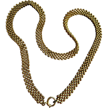 Antique Victorian Mesh Book Chain Necklace ,Gold Fill Necklace, 1800s, Bridal, Wedding