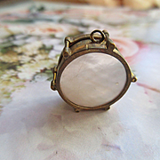 Antique Mother Of Pearl Drum Fob - Charm in Gold Fill