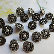 Cut Steel Button Lot of 20 Early 1900s