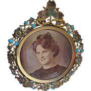 Victorian Enameled Brass Picture Frame with Photo of Woman