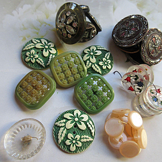 Vintage Estate Lot of Buttons Reverse Painted Plastics Sets