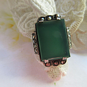Vintage Sterling Marcasite Green Stone Ring