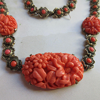 Vintage Deco Sterling Molded Glass Necklace