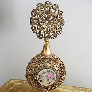 Vintage Apollo Ormolu Filigree Guilloche Enameled Perfume Bottle Glass Dauber