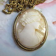 Vintage Carved Shell Cameo Necklace
