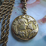 Antique Art Nouveau Locket Necklace with Lovely Old Photos