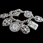 Vintage Sterling Fleur De Lis Charm Bracelet