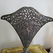 Vintage 90s Silver Plate Ornate Altar Vase Godinger Silver Art Co. with liner
